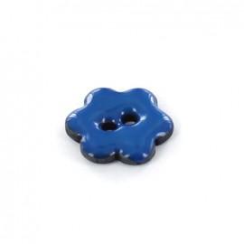 Bouton Coco Laqué Flower bleu