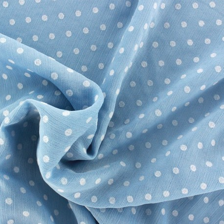 Muslin fabric Plumetis - blue x 50cm
