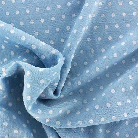Tissu Mousseline Plumetis bleu x 50cm