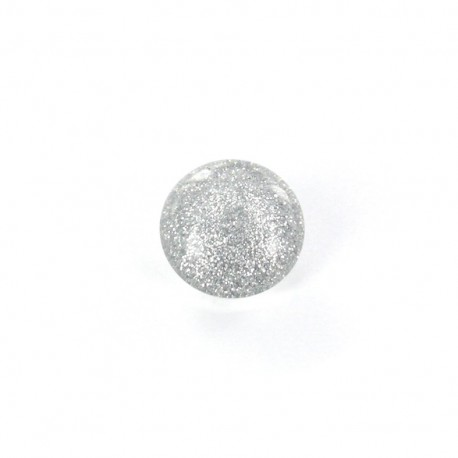 Bouton Polyester Glitter argent