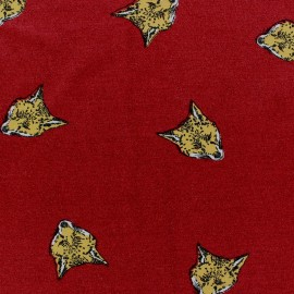 Tissu Jersey viscose renard fond grenat x 10cm
