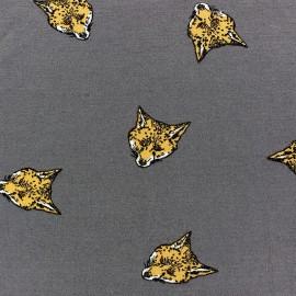Tissu Jersey viscose renard fond gris x 10cm