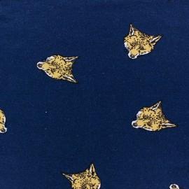 Tissu Jersey viscose renard fond bleu x 10cm