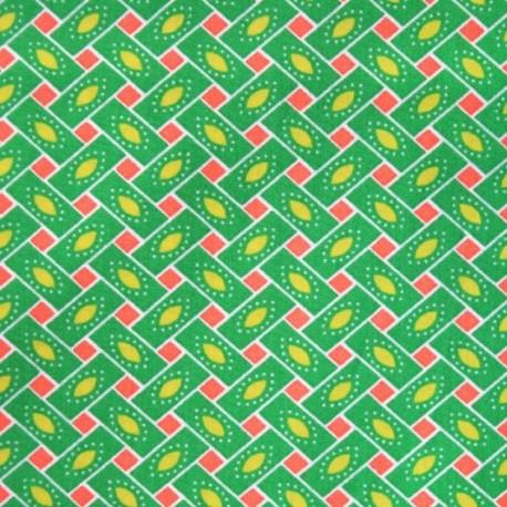 Tissu coton citrus vert x 10cm