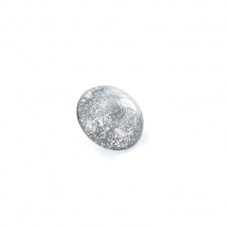 Bouton Polyester Glitter gris