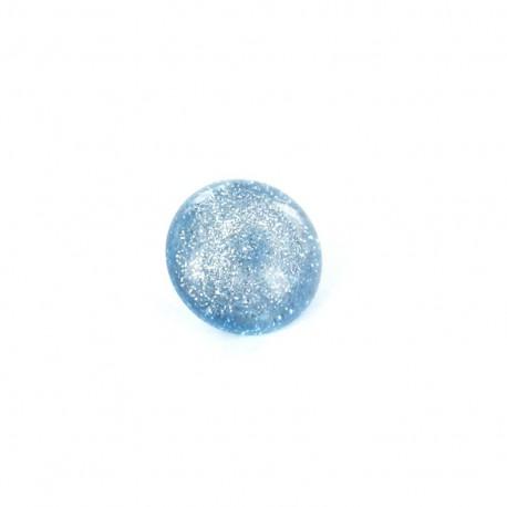 Bouton Polyester Glitter bleu ciel