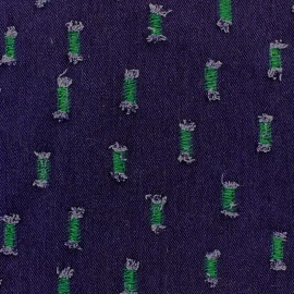 Fabric jeans aspect frayed - Green meadow x 10cm