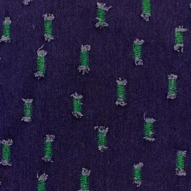 Tissu jeans aspect effiloché Vert prairie x 10cm
