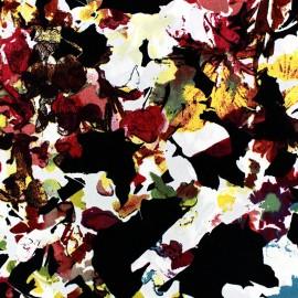 Microfiber Fabric Floral - Black x 10cm
