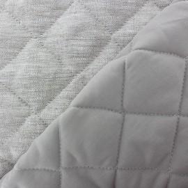 ♥ Coupon 20 cm X 145 cm ♥  Tissu matelassé lin Semi-Grey double face