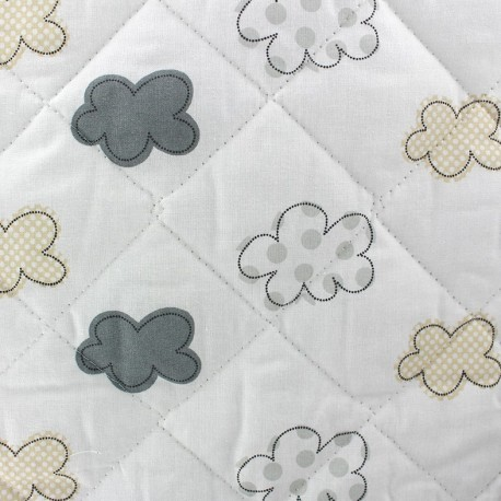 Quilted cotton fabric Nuages - grey x 10cm