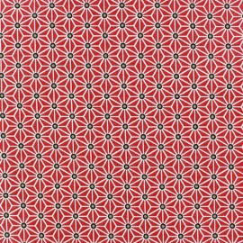 Fabric quilted cotton Saki Red & Noir double sided x 10 cm