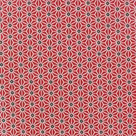 Tissu coton crétonne Saki Rouge / Blanc x 10cm