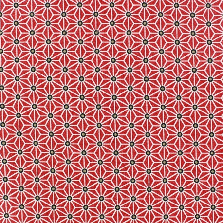 Tissu coton Saki Rouge / Blanc x 10cm