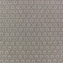 Saki Cotton Fabric - Taupe & White x 10 cm