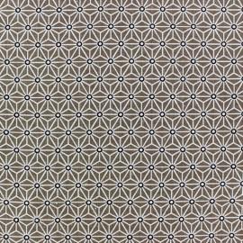 Tissu coton crétonne Saki Taupe / Blanc x 10cm