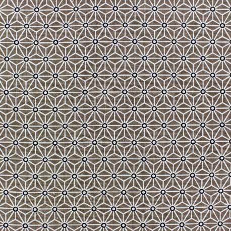 Tissu coton Saki Taupe / Blanc x 10cm
