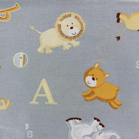 Tissu baby coton Noah gris x 10cm