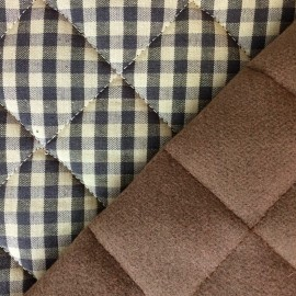 Norvege Quilted Fabric - Taupe double sided x 10 cm