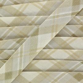 Bias binding, checkered - beige