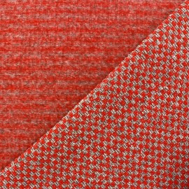 Jersey knit woven fabric Checked - red x 10cm