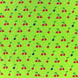 Fabric Jersey Cherry Dot - green lime background x 10cm