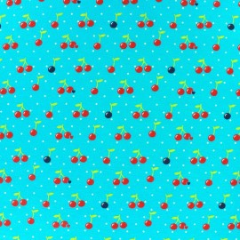 Fabric Jersey Cherry Dot - azure blue background x 10cm
