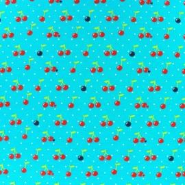 Tissu Jersey Cherry Dot fond bleu azur x 10cm