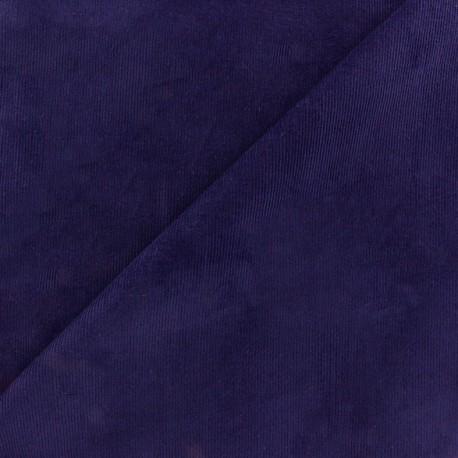 Tissu velours milleraies élasthanne bleu violet x10cm