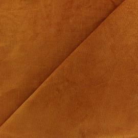 Tissu velours milleraies élasthanne camel x10cm