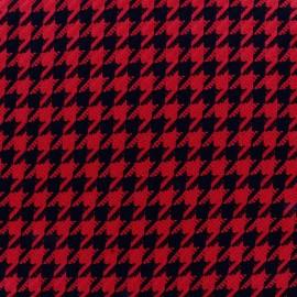 Tissu Lainage Houndstooth rouge x 10cm