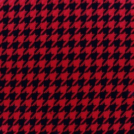 Wool fabric houndstooth - red x 10cm
