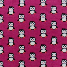 Tissu Jogging Pretty Penguins Framboise x 10 cm