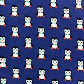 Tissu Jogging Pretty Penguins Bleu roy x 10 cm