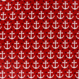 Tissu Anchors & Dots fond rouge x 10cm