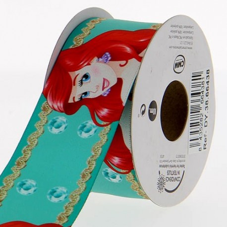 Satin ribbon Disney, The little Mermaid 38 mm - sea green