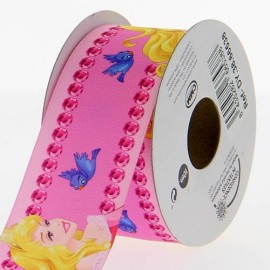 Satin ribbon Disney, Aurora 38 mm - pink