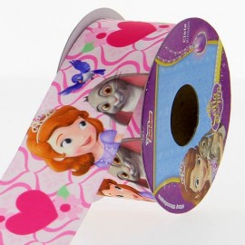 Satin ribbon Disney, Sofia the First 38 mm - pink