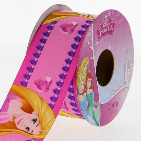 Satin ribbon Disney, Rapunzel 38 mm - pink