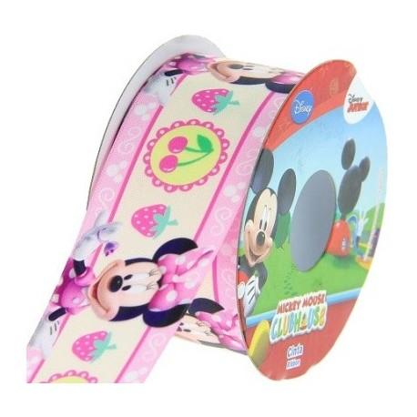 Satin ribbon Disney, Minnie 38 mm - pink