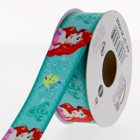 Satin ribbon Disney, The little Mermaid 25 mm - sea green
