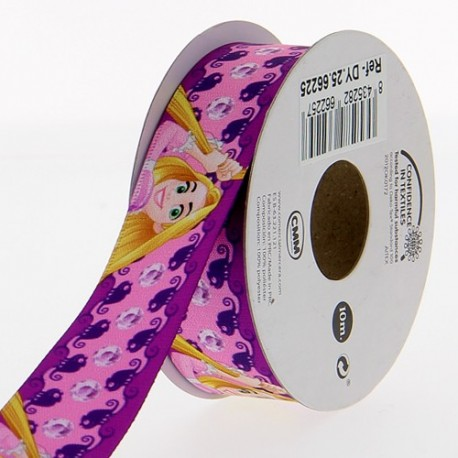 Satin ribbon Disney, Rapunzel 25 mm - pink