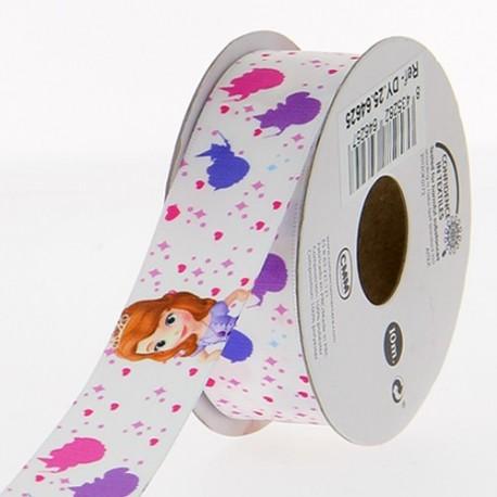 Satin ribbon Disney, Sofia the First 25 mm - white