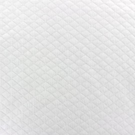 Quilted jersey fabric Diamonds 10/20 - white x 10cm