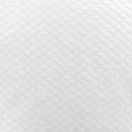 Tissu jersey matelassé losanges 10/20 blanc x 10cm