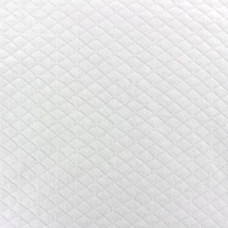 Quilted jersey fabric Diamonds 10/20 - blanc x 10cm