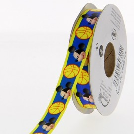 Satin ribbon Disney, Mickey 15mm - navy blue