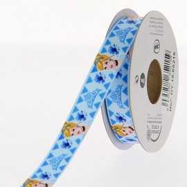 Satin ribbon Disney, Cinderella 15mm - light blue