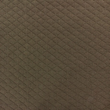 Quilted jersey fabric Diamonds 10/20 - brown x 10cm