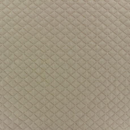 Quilted jersey fabric Diamonds 10/20 - beige x 10cm